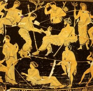 Dionüszosz születése Zeusz combjából, vázakép.