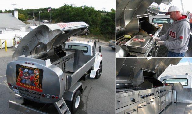 Tartálykocsiból átalakított guruló BBQ és grillsütő (USA)
