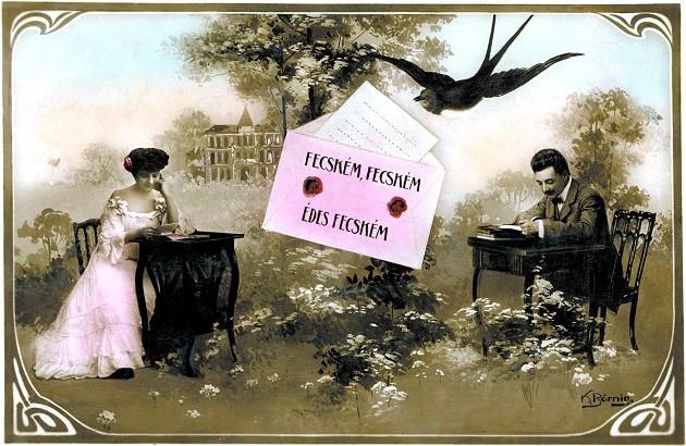 Egy szecessziós magyar Valentin (Bálint) napi képeslap