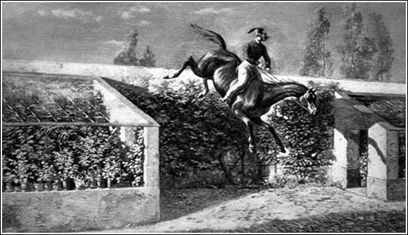 Sándor Móric átugrat a bajnai kastély kőkerítése felett; Forrás: sulinet
