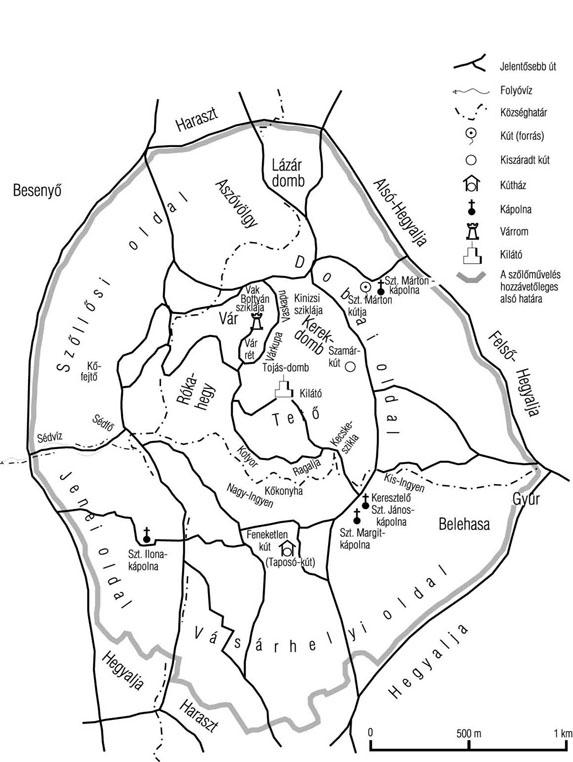A Somló hegy fontosabb helynevei (Süle Sándor névtérképe alapján tervezte: Somfai Balázs, rajzolta: Törő Lászlóné); Forrás: sulinet
