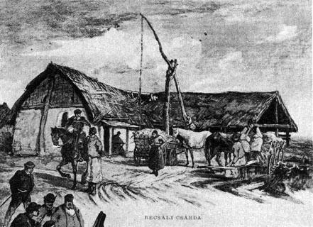 Pihenő vásározók a Becsali csárdánál (Szolnok alatt), 1862. Rajz (Az Ország Tüköre, 1862. 122. sz.) Forrás:  mek.oszk.hu