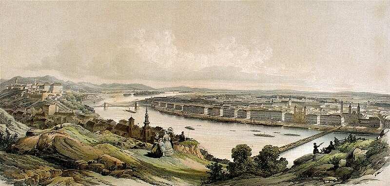 Franz Xaver Sandmann: Pest-Buda látképe a Gellérthegyről, 1853 , Forrás:  mek.niif.hu