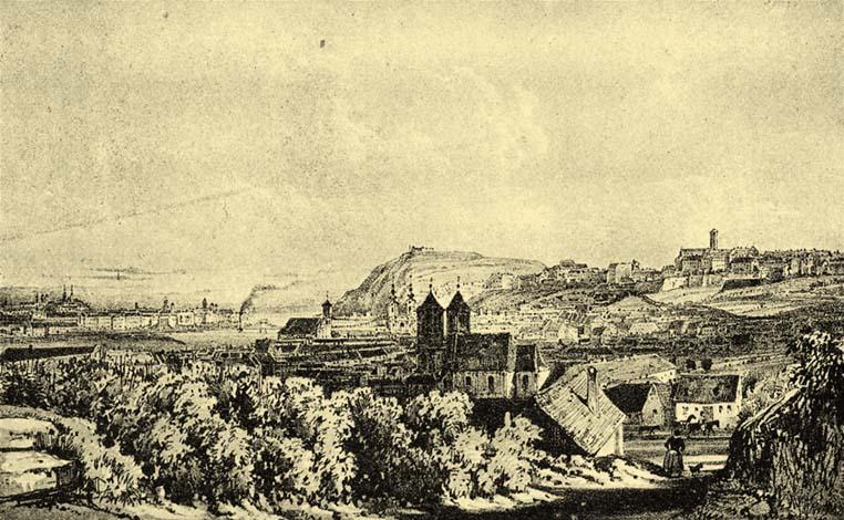 """Buda és Pest 1848-ban, Rauch János kőnyomata Sandmann T. rajza után. Alt Rudolf """"Buda-Pest"""" (Pest, 1845.) czímű munkájából; Forrás:  mek.niif.hu"""