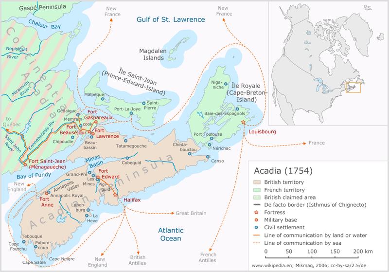Acadia 1754-ben, Forrás: wikipedia