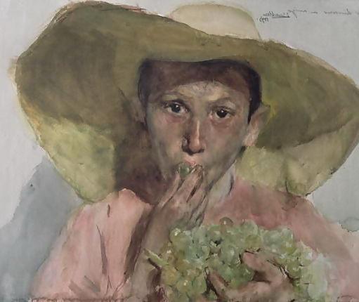 Joaquin Sorolla y Bastida: Szuőlőt evő fiú (1890), Forrás: 1st-art-gallery.com