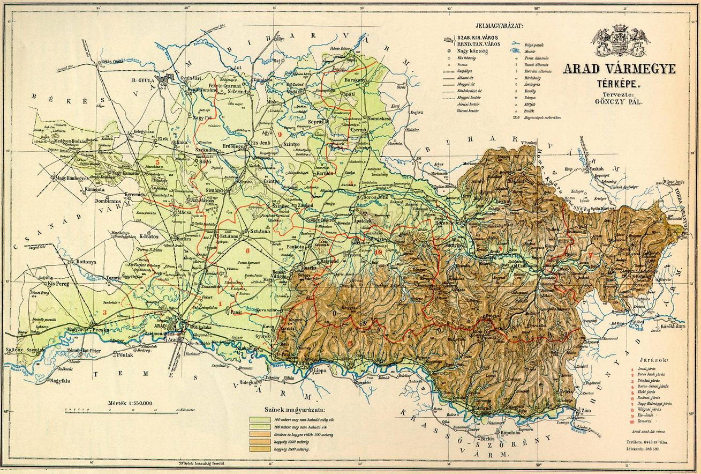 Arad vármegye térképe