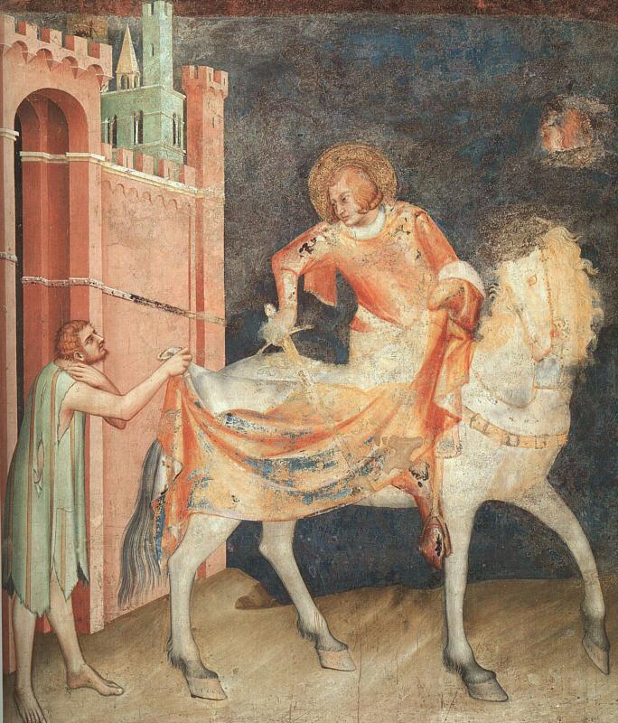 Szent Márton megosztja köpenyét; Simone Martini, 1312-17 Cappella di San Martino, San Francesco, Assisi, Forrás: inillotempore.com