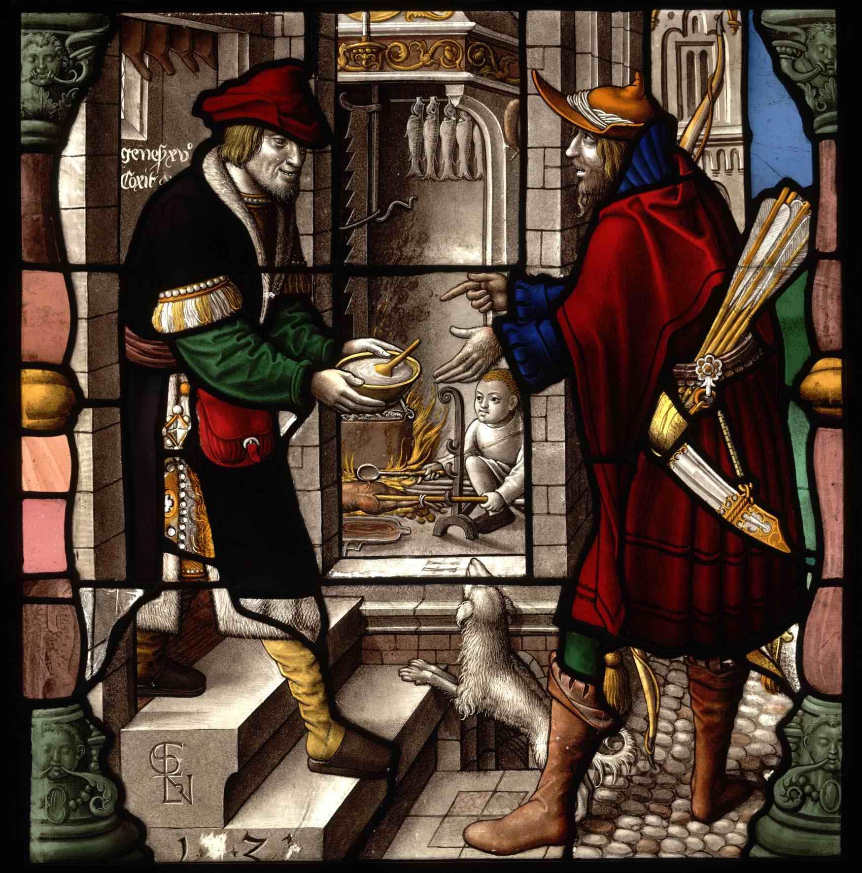 Ézsau és Jákob, német renessaince ólomüveg.