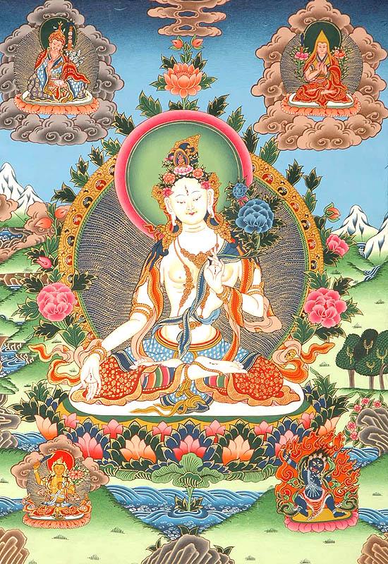 Fehér Tara, a hosszú élet istennője, Forrás:  exoticindiaart.com