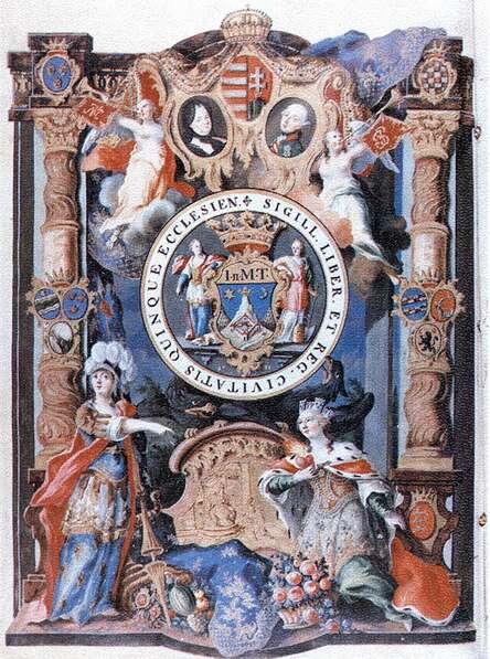 Pécs város címere a 18. században; Forrás:  mek.niif.hu