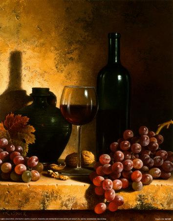 Loran Speck: borospalack, szőlő és dió, csendélet, Forrás:  art.com