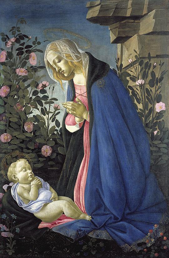 Sandro Botticelli: A Szűz rajongása az alvó Jézusért; Forrás:  andrewgrahamdixon.com