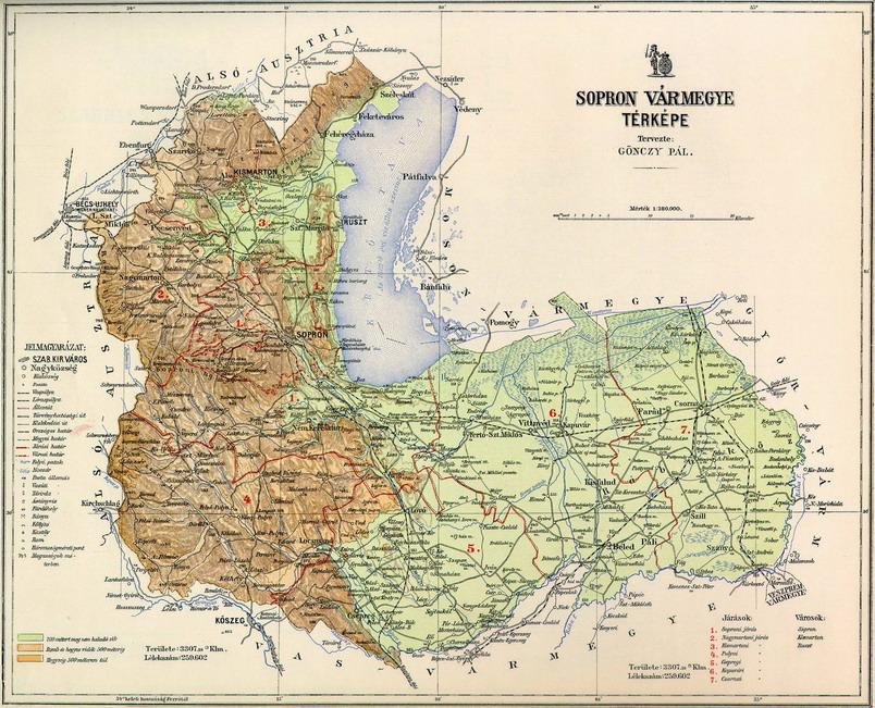 Sopron vármegye térképe, Forrás: elte