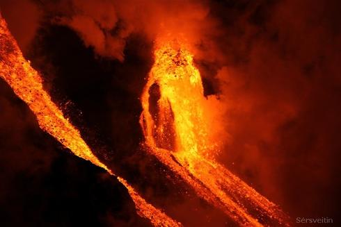 Az izlandi vulkán kitörése; Forrás:  grapevine.is