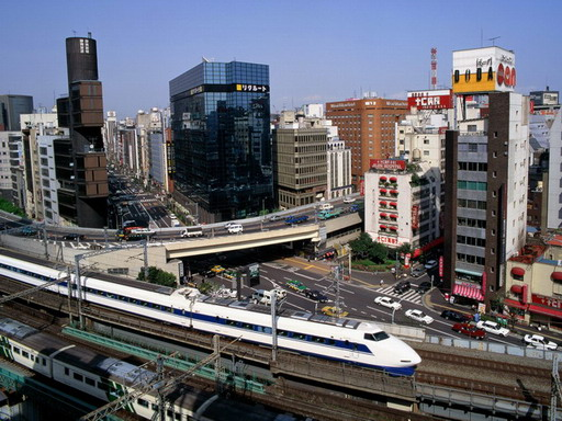 Bullet Train -Ginza_District, Tokyo, Japan; Forrás: wallpapers.free-review.net