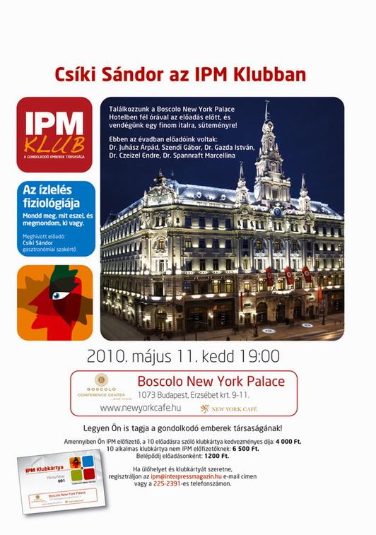 Csíki Sándor előadása, IPM Klub; www.foodandwine.hu
