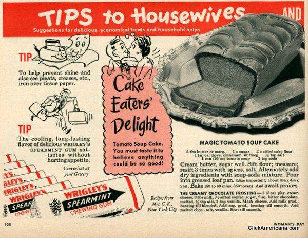 Paradicsomleves torta receptje az 1950-es évekből