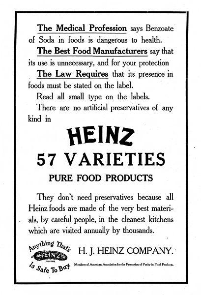 H.J.Heinz marketing anyag (1909) a Na-benzoát mentes Heinz termékekről