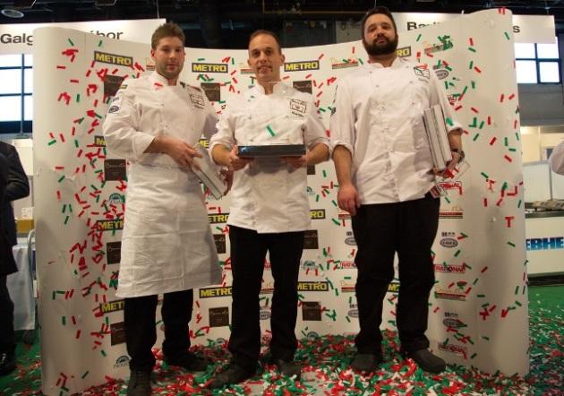 Molnár Gábor (középen), a Bocuse d'Or magyarországi döntőjének győzteseként