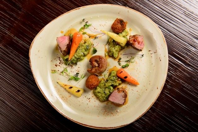 Lamb with Minted Zucchini, Teriyaki and Sage Sauce