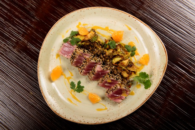 Tuna, Crispy Brussels Sprouts, Clementine and Coriander