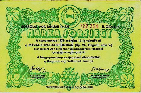 Márka sorsjegy (1979) (Forrás: retronom)