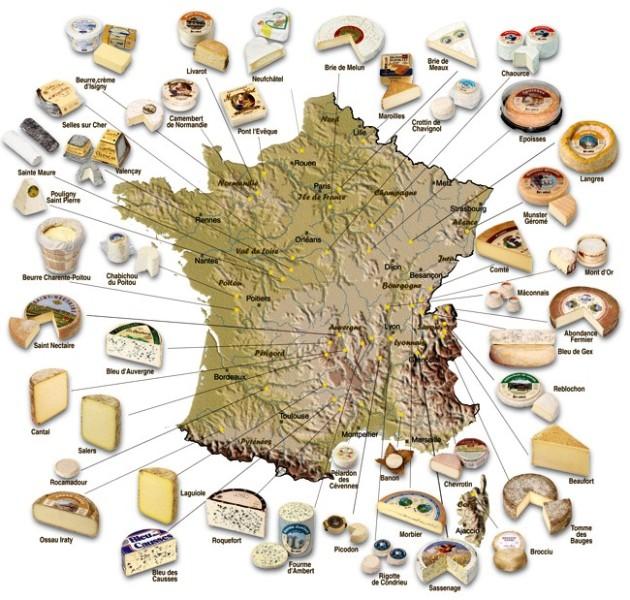 Franciaország sajttérképe
