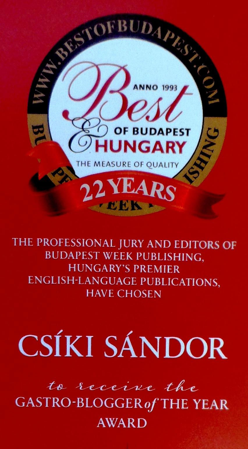 Az év gasztrobloggere: Csíki Sándor