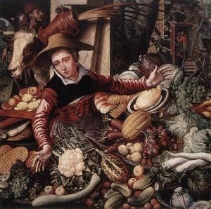 Pieter Aertsen, Utcai zöldségárus (olaj, fa, Staatliche Museen, Berlin)