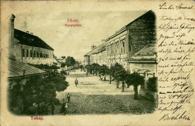 Tokaj 1900 körül (képeslap, német nyelvű szöveggel)