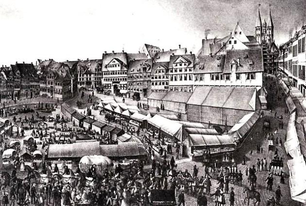 A braunschweigi vásár (Braunschweiger Messe) 1840 körül - Káposztapiac (Kohlmarkt)