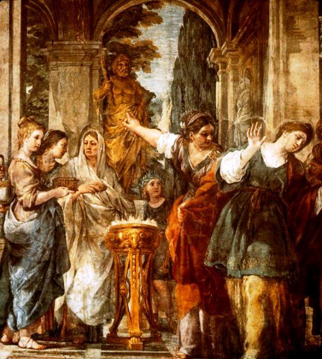 Szent Bibiana megtagadja a pogány bálvány imádását, Pietro da Cortona, 1626
