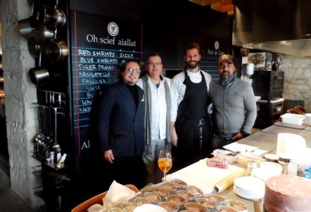 A képen balról: Bruno Pessot (Jolanda de Colo), Csíki Sándor (Food&Wine), Giuliano Lorenzon (Jolanda de Colo) és Gianni Annoni (Pomo d'Oro)