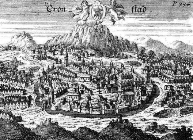 Johann Jakob Schollenberger: Brassó látképe - rézmetszet, 17. század (Forrás: Rózsa György: Városok, várak, kastélyok).