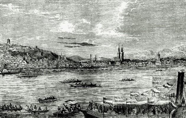 Csónakverseny Pesten, 1864