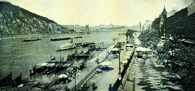 Pesti Duna-part a Millennium idején (Bruck Lajos fotója, 1905 körül)