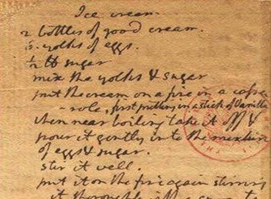 Thomas Jefferson elnök Kongresszusi Könyvtárban őrzött kéziratos jégkrém receptjének részlete