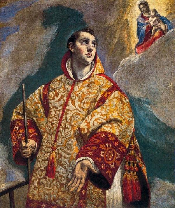 El Geco, a Szűzanya megjelenik Szent Lőrinvnek