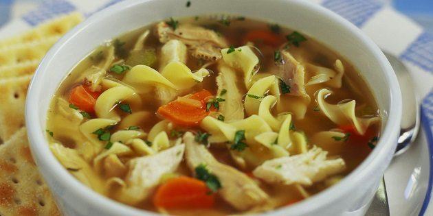 Csirke húsleves tésztával - ebben is van természetese szabad L-glutamát
