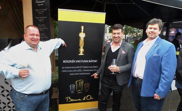 Csapody Balázs, Molnár Attila és Hamvas Zoltán a Bocuse d'Or Europe 2016 sikert közvetlenül követő Gourmet Fesztiválon.
