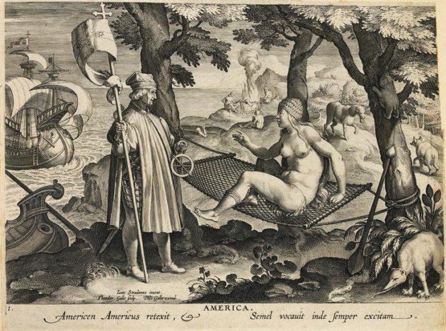 Amerigo Vespucci felfedezi Amerikát (Nyomtatták 1591 körül)