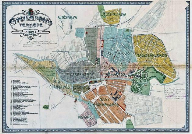 Gyula térképe, 1913