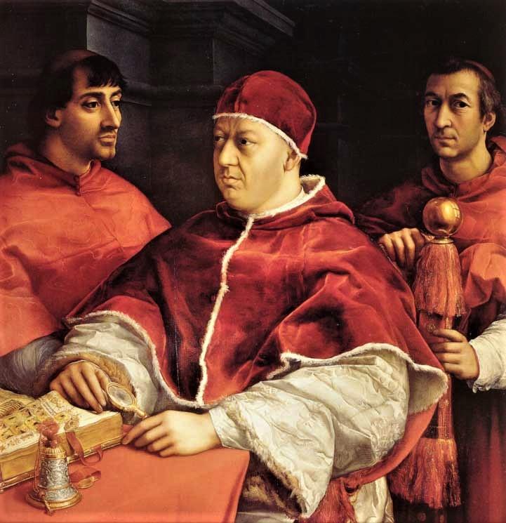 """Raffaello festménye (1518-1519): X. Leó pápa portréja két kardinálissal, Giulio de Medicivel (a későbbi VII. Kelemen pápával) és első unokatestvérével. Luigi de"""" Rossival"""
