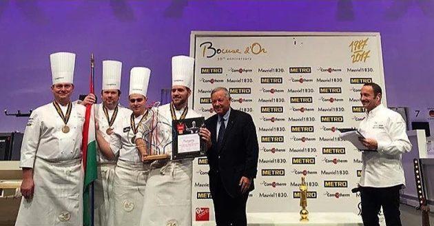 Vomberg Frigyes, Hamvas Zoltán, Szabó Kevin és Széll Tamás a legjobb húsételnek járó különdíjjal (2017, Lyon)