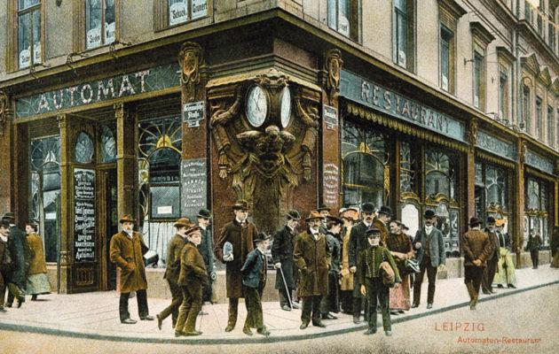 Lipcsei utcarészlet, Belváros 1900 körül, amikor Ikeda ott járt(Automaten-Restaurant)
