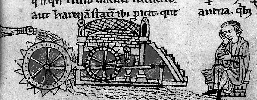 Felülről hajtott vízkerékkel működő vízimalom (1220-1230 körül)