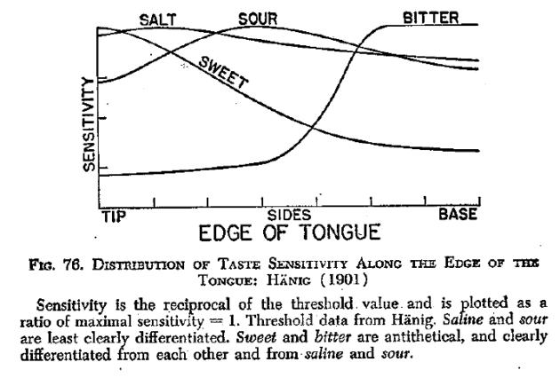 A elterjedt hibásan tanított nyelvtérkép Boring Sensation and Perception in the History of Experimental Psychology (1942) című könyvének itt közölt, 76. ábrájához vezethető vissza.