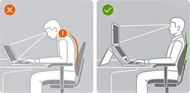 Ergonómiailag helyes és helytelen ülő pozíció