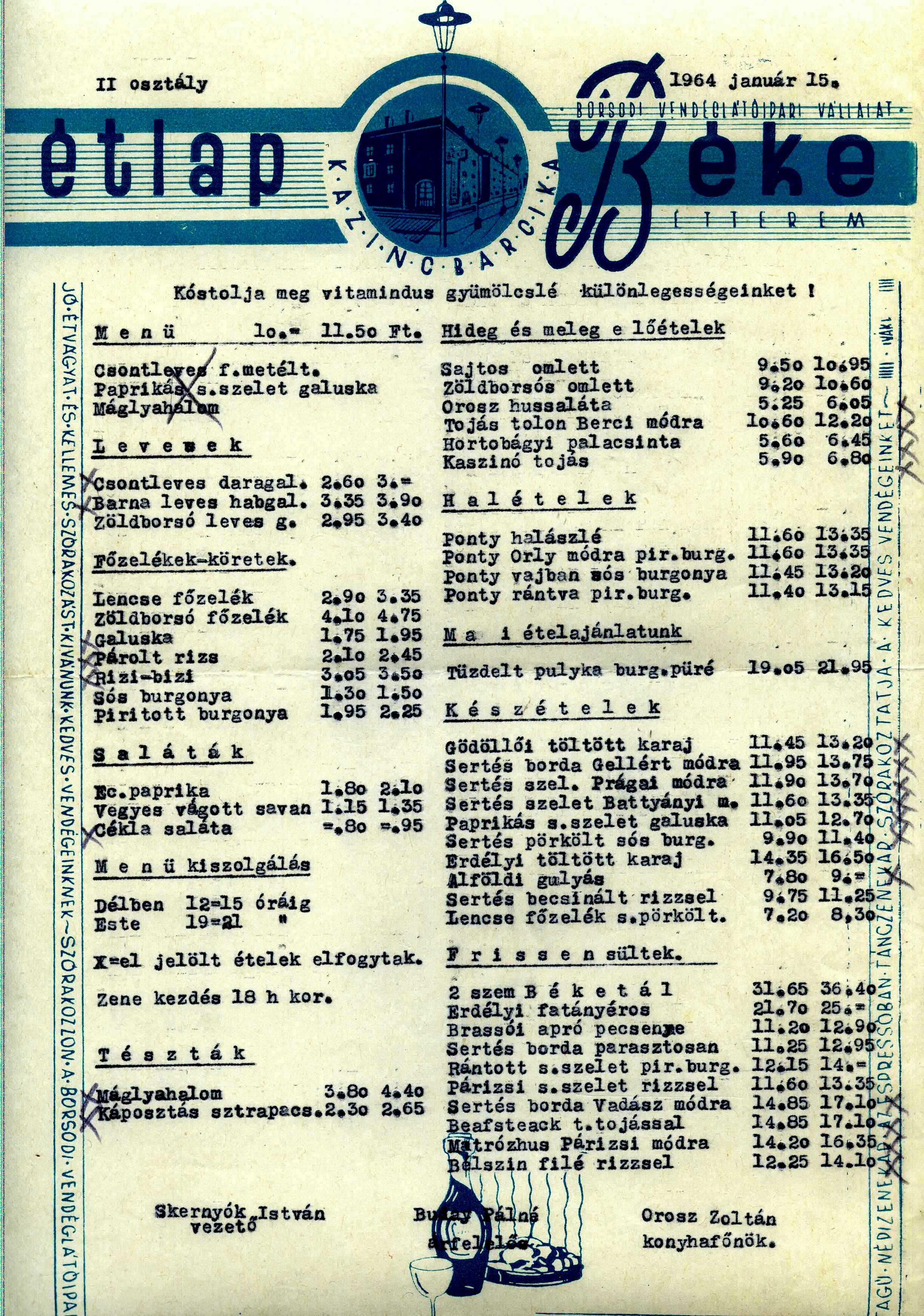 Étlap 1964